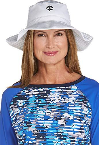 Coolibar UPF 50+ Women's Brighton Chlorine Resistant Bucket Hat - Sun Protective (Large/X-Large- White)