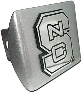 Elektroplate North Carolina State University Brushed Silver NCS Emblem NCAA Metal Trailer Hitch Cover Fits 2 Inch Auto Car Truck Receiver