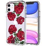 MOSNOVO iPhone XR Hülle, Rote Blühen Blumen Muster TPU Bumper mit Hart Plastik Hülle Durchsichtig Schutzhülle Transparent für iPhone 11 (2019) (Red Roses)
