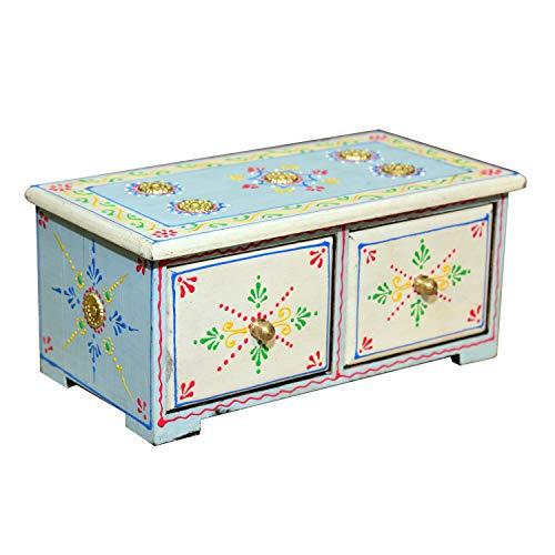 Casa Moro Orientalische Mini-Kommode handbemalte Holz-Kästchen Alaka mit 2 Schubladen 24x13x10 cm (B/T/H) | Die Originelle Geschenk-Idee für die Dame Freundin Frau Muttertag | MA48-05