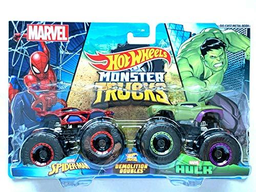 DieCast Hotwheels 2021 Monster Trucks Spider-Man vs Hulk [Demolition Doubles] 1:64 Scale