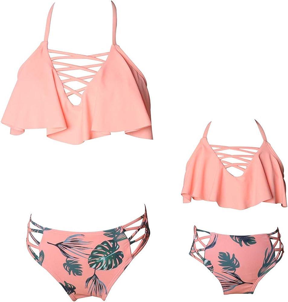Janjunsi Mother Super-cheap Daughter Floral Printed Two Swimsu Super beauty product restock quality top! Bikini Pieces