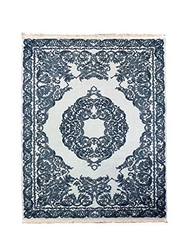 Siela Waschbarer Teppich Für Wohnzimmer, Küche, Flur, Teppichläufer, Deko, Modern, Elegant,Teppiche Für Schlafzimmer, Esszimmer Küchenteppich - (1510-Petrol-Blau, 160 x 230cm-Oval)