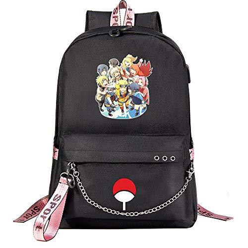 ZZGOO-LL Uzumaki Naruto/Uchiha Sasuke with Chain USB Anime Mochilas Backpack Escolar para Hombres Mujeres Trabajo, Tableta Unisex Black-D