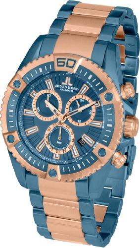 Jacques Lemans Herren Chronograph Quarz Smart Watch Armbanduhr mit Edelstahl beschichtet Armband 1-1805K