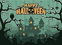 写真 GhoSkull城の背景のZhyハロウィン背景 7x5ft / 2.1x1.5m パーティーの装飾用品写真撮影小道具7