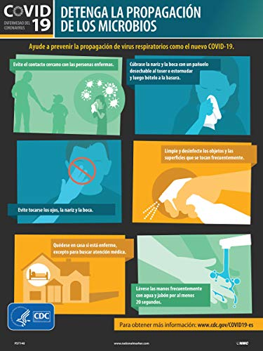 STOP THE SPREAD OF GERMS POSTER, NOVEL CORONAVIRUSCDC POSTER, 24 X 18, HEAVY-DUTY POSTER PAPER, SPANISH