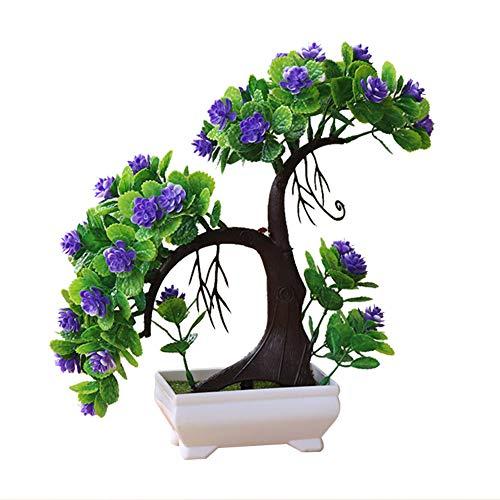 Artily Künstliche Pflanze im Topf, Kunststoff, Kunstpflanzen, Farbe Blumen, Bonsai, für drinnen und draußen, Haus, Garten, Dekoration, Geschenk, Plastik, violett, 27 * 27cm