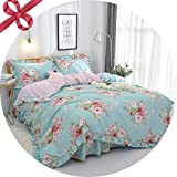 FADFAY Farmhouse Shabby Pink Floral Chic Bedding Set Rose Floral Bedskirt Set 100% Cotton Exquisite Craft Hypoallergenic 4-Piece King Size