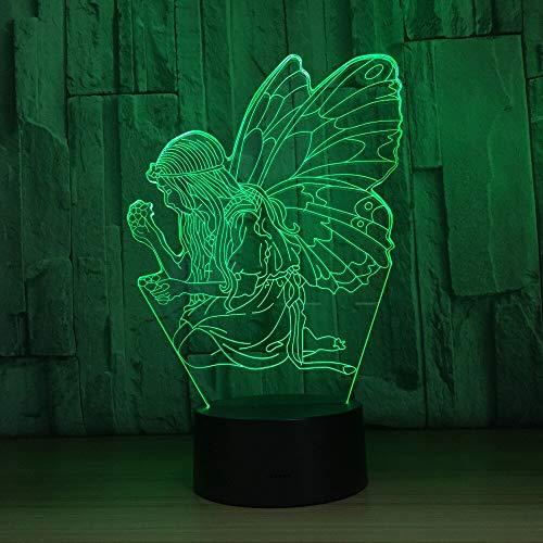 Hermosa mariposa con forma de hada ilusión 3D lámpara de mesa de escritorio acrílica táctil 7 colores luz nocturna 3D para regalo de niña