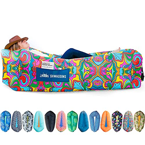 Chillbo Shwaggins Inflatable Couch – Cool Inflatable Chair. Upgrade Your Camping Accessories. Easy Setup is Perfect for Hiking Gear, Beach Chair and Music Festivals. (60s Psychedelic)