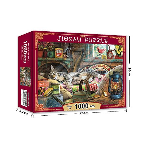 Jigsaw Puzzles for Adults 1000 Piece – Cute Cat – Large Puzzle Game Toys Gift 27.6″ x 19.7″ – Parent Child Game