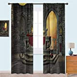 Aishare Store Rod Pocket Window Panels Ancient Altar Table in Castle Baroque Era Inspired Alchemy Wizard Design Curtains for French Doors 52' x 84' Reseda Green Mustard