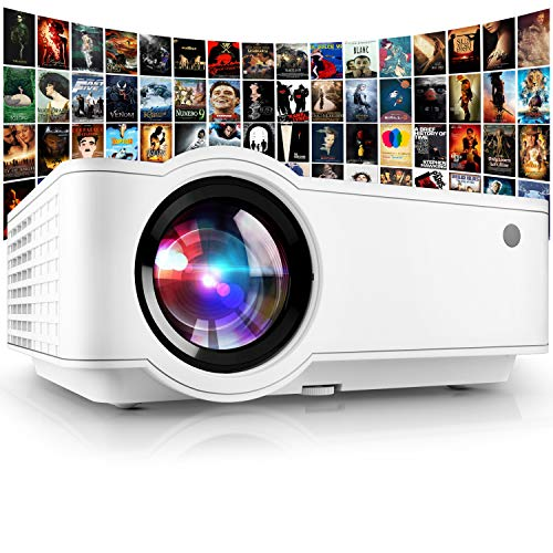 "Projector, [2021 Updated] Mini Projector 1080P Supported, 5500 Lux 210"" Display with 52,000 Hrs LED Movie Projector Compatible with Phone,Computer,Laptop,USB,HDMI,VGA-Home,Office,Outdoor Entertainment"