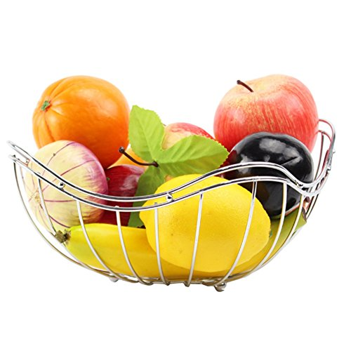 WENZHE Fruit Rack Corbeille À Fruits Plateau Panier De Vidange Bonbons Espace De Rangement Acier Inoxydable, 23x12cm Panier à Fruits