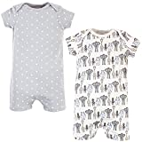 Hudson Baby Unisex Baby Cotton Rompers, Royal Safari 2-Pack, 0-3 Months