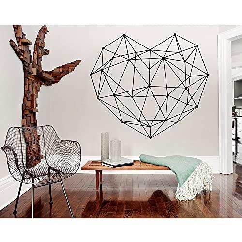 Geometrisk hjärtformad dekal väggklistermärke hem sovrum sängbord vardagsrum abstrakt väggdekal klistermärke A6 64 x 57 cm