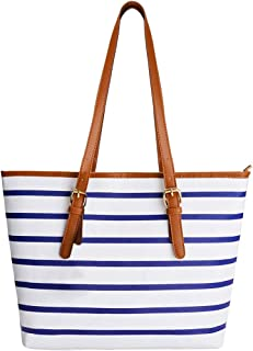Coofit Adult Beach Bag, Stripes Summer Purse Tote Shoulder Bag Large Blue