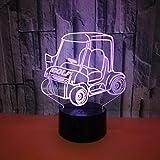 Chariot de golf 3D veilleuse tactile télécommande cadeau Table colorée lampe 3D chevet lampe décorative pour chambre d'enfants