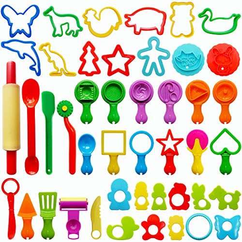 FRIMOONY Play Dough Tools for Kids, Various Plastic Moulds, Assorted Colors, 45 Pieces