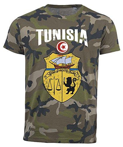 Maglietta Tunisia mimetica Army Mondiali 2018 .- Vintage Destroy Stemma D01 Nero  S