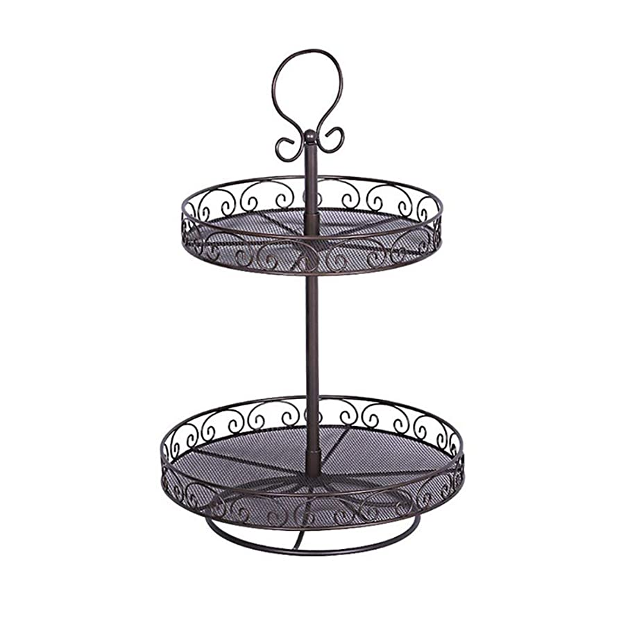 Ruber 2 Tier Fruit Bowls Basket for The Countertop Stand Kitchen, Vegetable Storage Centerpiece, Fruit Tray for Vegetables, Snacks, Household Items, Gift,Black