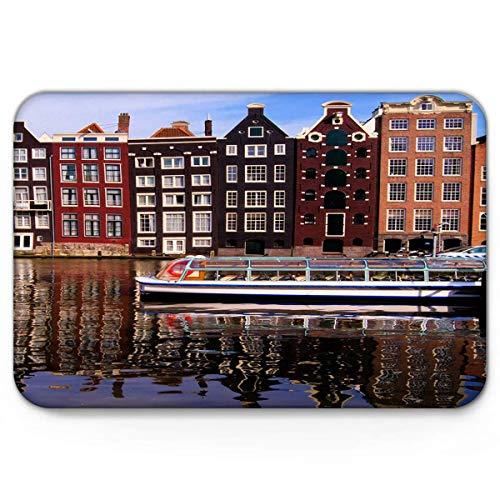 Goodshope mooi uitzicht op de kanalen van Amsterdam deurmatten binnen keuken vloer badkamer ingang tapijt huisdecoratie absorberende bad deurmatten rubber niet slip 19,5