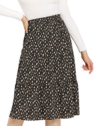 Allegra K Women's Midi Skirts Elastic Waist A-Line Printed Tiered Skirt Large Black