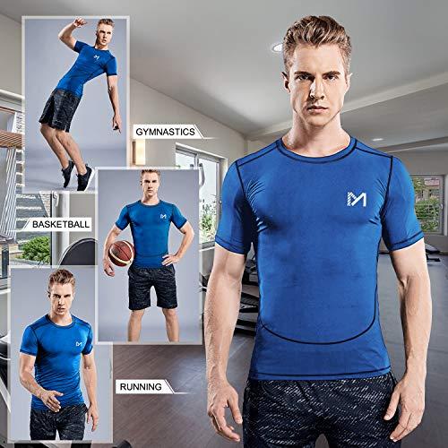 MEETYOO Kompressionsshirt Herren, Laufshirt Kurzarm Funktionsshirt Atmungsaktiv Sportshirt Männer T-Shirt für Running Jogging Fitness Gym - 6
