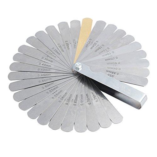 LiNKFOR Galgas Espesores 32 Hojas Calibre Grosor Plegable Juego de Galgas Metricas y Imperiales Calibrador de Lamina en Acero 0.04-0.88mm/0.0015-0.035pulgadas para Bujías Válvulas