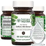 Natural Nutra Odorless Garlic Oil Supplement, Organic Pills for High Blood Pressure and Cholesterol, Boost Heart Health, Enhance Immune System, Blood Thinner, Allium Sativum 500mg, 100 Softgels