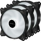 upHere 120mm 3pin LED Blanco Ventilador para Ordenador -Ventilador de Caja PC Silencioso 3 Pack (PF120WT3-3)