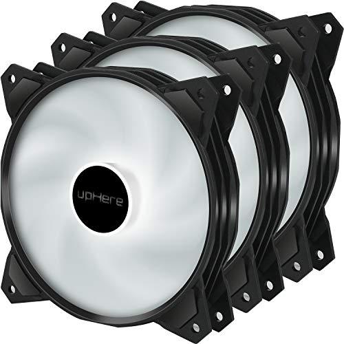 upHere 120mm 3PIN LED Weiß Silent Lüfter für Gehäuselüfter Computer, 3- Pack (PF120WT3-3)