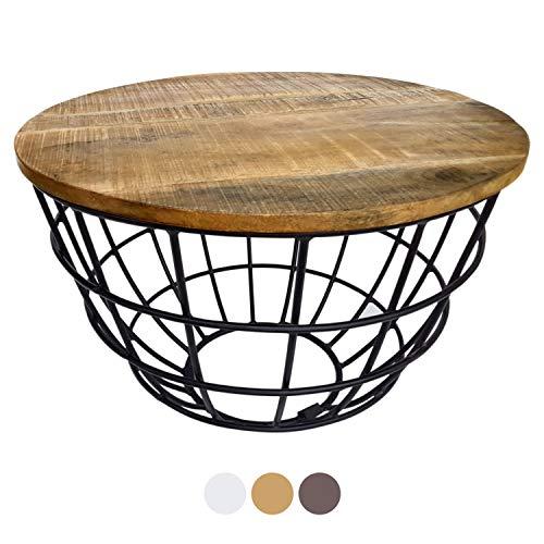 casamia Couchtisch Wohnzimmer-Tisch rund Beistelltisch Lexington ø 55 cm Metall Drahtgestell Gitter massiv (Tabacco)