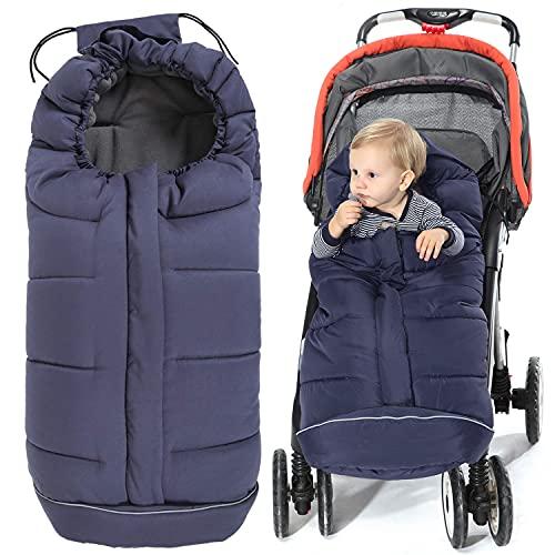 Orzbow Baby Fußsack Babyfußsack Winterfußsack Babyschale Buggy | Waschbar Verschließbarer Baby Schlafsack Winter Passend Für Kinderwagen (Dunkelblau)