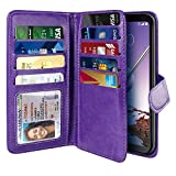 NEXTKIN Case Compatible with LG Stylo 4, Leather Dual Wallet Folio TPU Cover, 2 Large Pockets Double flap, Multi Card Slots Snap Button Strap For LG Stylo 4 - Purple
