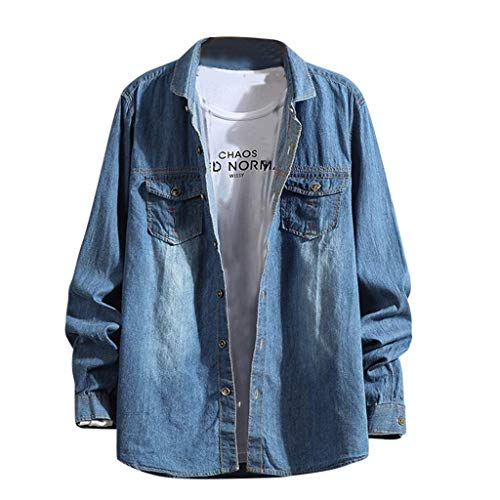 Biooarc Heren Nieuwe Denim lange mouw Shirt Casual Comfortabele Blouse Light Coat Plus Size