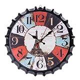 SUNG-LL Reloj de Pared de Tapa de Botella de Vino Retro Creativo de Hierro metálico Reloj de Pared de Tapa de Botella de Cerveza de Tendencia Europeo y Estadounidense