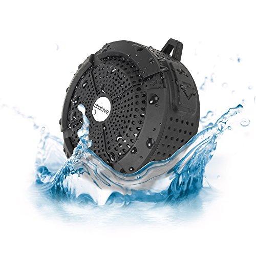 Photive Rain WaterProof Portable Bluetooth Shower speaker. Rugged Wireless Outdoor/Shower Speaker with Built in Microphone - Black