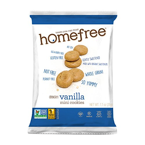 Homefree Treats You Can Trust Gluten Free Mini Cookies, Single Serve, Vanilla, 70% organic, 1.1 Ounce (Pack of 10)