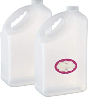 Pack of 2-1 gallon F-Style Bottle - Large Empty HDPE Plastic Jug – 128 oz Natural Container w/Plastic Airtight Lids - Empty Jugs with Handles - for Home and Commercial Use - Food Safe BPA Free