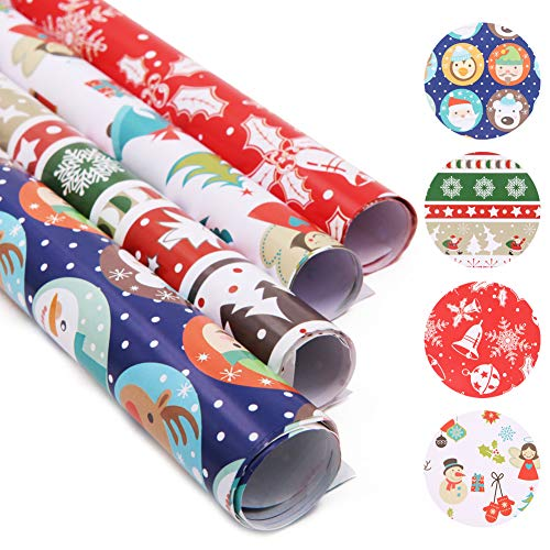 20 fogli di carta da regalo con Babbo Natale, carta da regalo colorata, per bambini, pupazzo di neve, renna, albero di Natale, fiocco di neve, campana, angelo di Natale (70 x 50 cm)