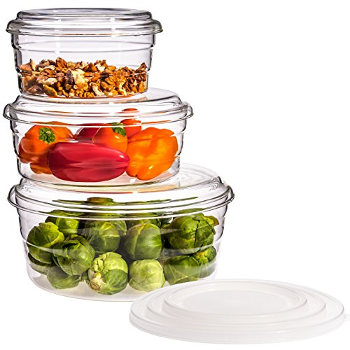 Trendglas Jena Juego de 3 microondas Centric GP con tapa de cristal y plástico (0,5/0,8/1,6 litros)