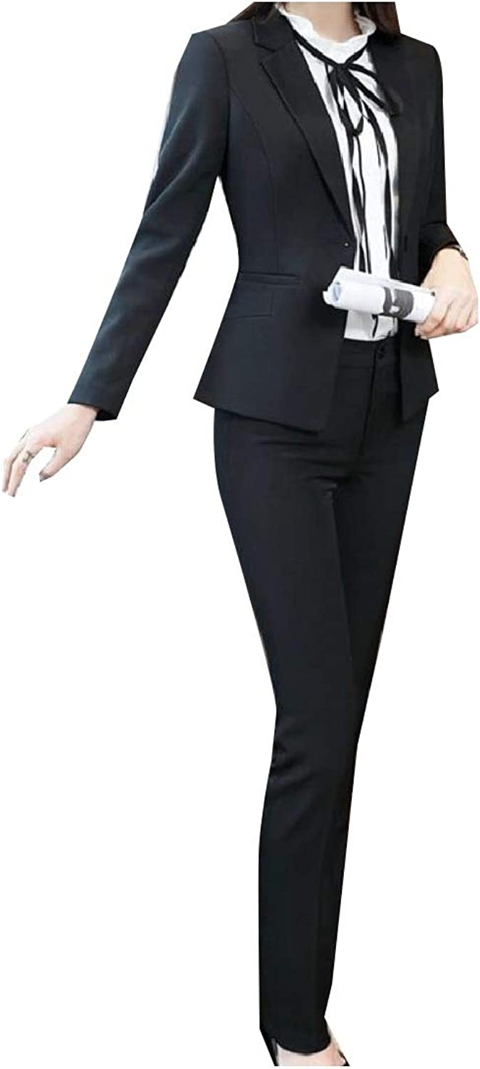 Andopa Womens Notch Collar Pure color Buckle Work Blazer Pants Suit Set