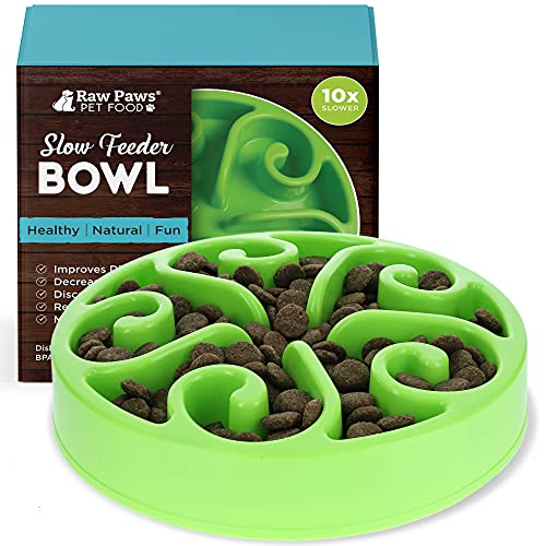 Raw Paws Pet BPA-Free Slow Feeder Dog Bowl - Dog Bowl Slow Feeder Large Breed, Medium Sized Dog & Puppies - Canine Slow Feeder Bowls for Dogs - Eating Control Dog Bowl - Slow Food Bowl - Maze Dog Bowl