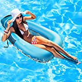 Pool Float, Upgraded Inflatable Pool Raft No Pump Required, Yorepek Portable Adult Floaties for Lake Beach Swimming Pool Party, Summer Floating Pool Lounge Float Chair with Pocket for Adults, Kids