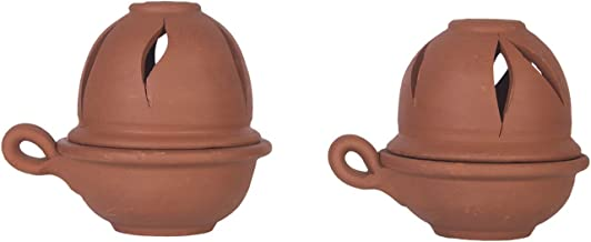 Village Decor Terracotta/Clay Oil lamp/Diyas with Lid Set of 2
