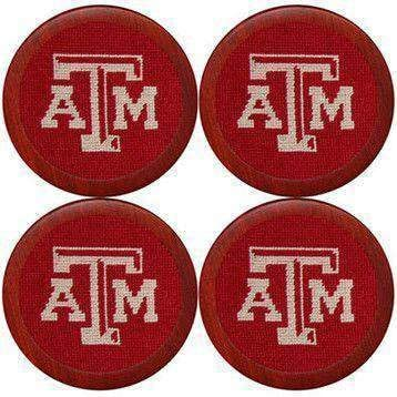 Texas AM Needlepoint Coasters cheap Max 45% OFF in Smathers Maroon Branson by