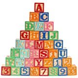 Gemileo Wooden ABC Toy Building Blocks for Toddlers 1-3 36 PCS Wood Baby Alphabet Number Blocks for Stacking Learning Preschool Educational Montessori Sensory Toys for Kids Boys Girls Gifts 1.65'