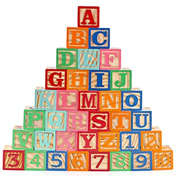 Gemileo Wooden ABC Toy Building Blocks for Toddlers 1-3 36 PCS Wood Baby Alphabet Number Blocks for Stacking Learning Preschool Educational Montessori Sensory Toys for Kids Boys Girls Gifts 1.65
